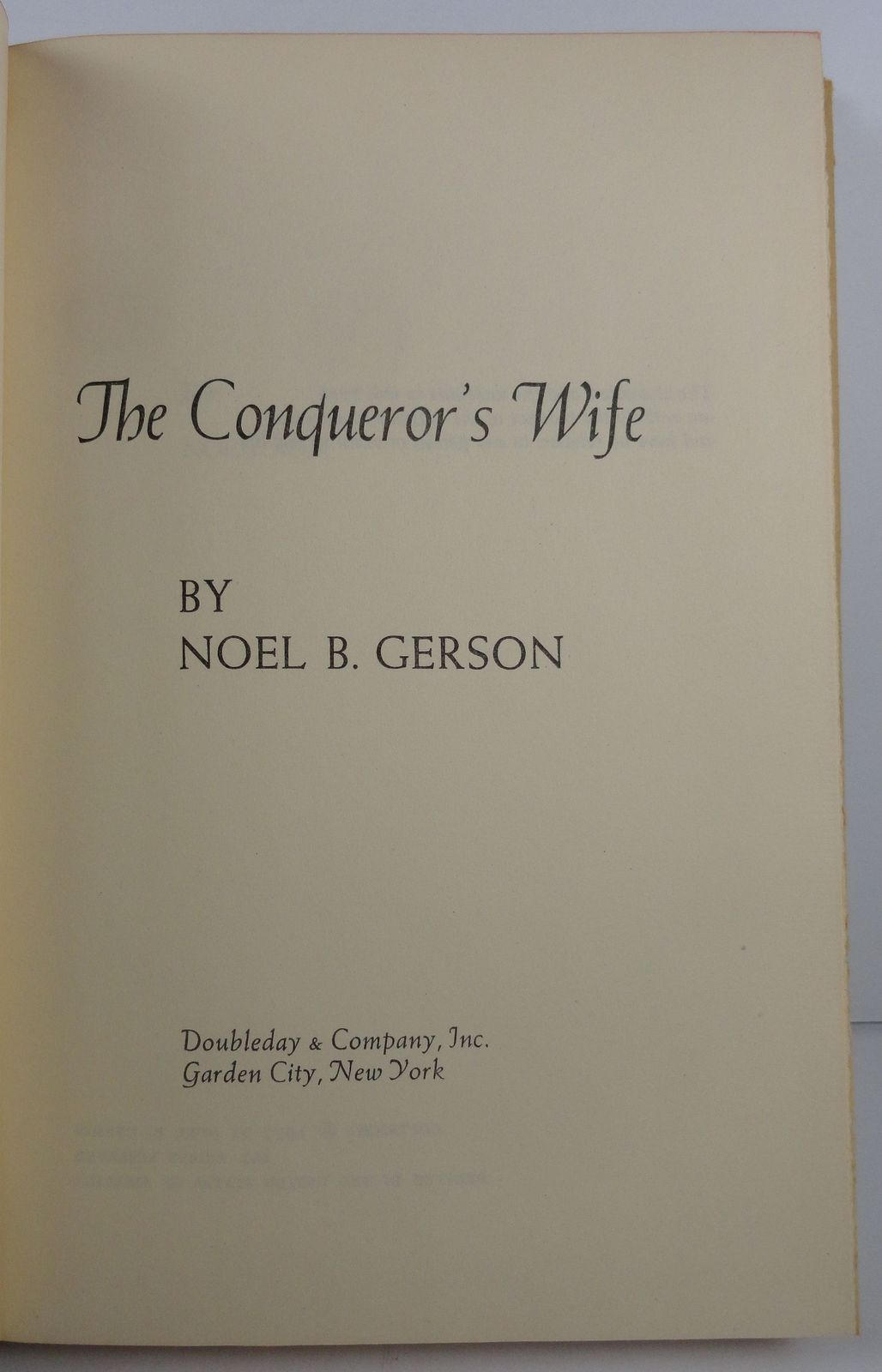 The Conqueror's Wife by Noel B. Gerson 1957 Doubleday HC/DJ