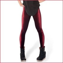 Burgundy Black or Navy Stretch Velvet High Waist Tight Velour Footless Legging image 1