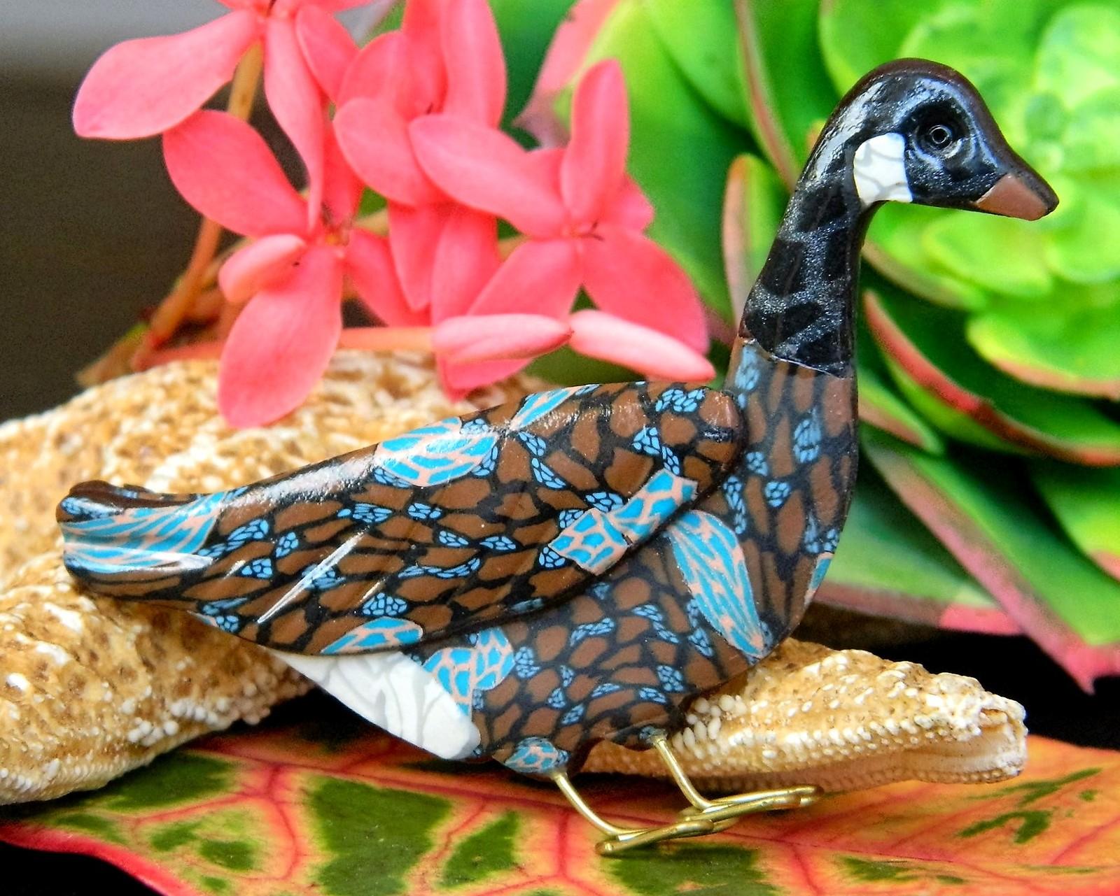 Canadian goose brooch pin clay alaskan artist jacqui ertischek 1994