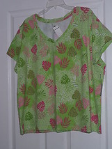 Palm Harbour Knit Shirt Size Pxl Stretch Green Floral Print Nwt - $15.89