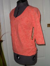 Palm Harbour Knit Shirt Top Size Pm Stretch Orange Print Nwt - $15.99