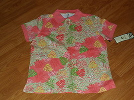 Palm Harbour Knit Shirt Size M Stretch Coral Floral Print Nwt - $15.79