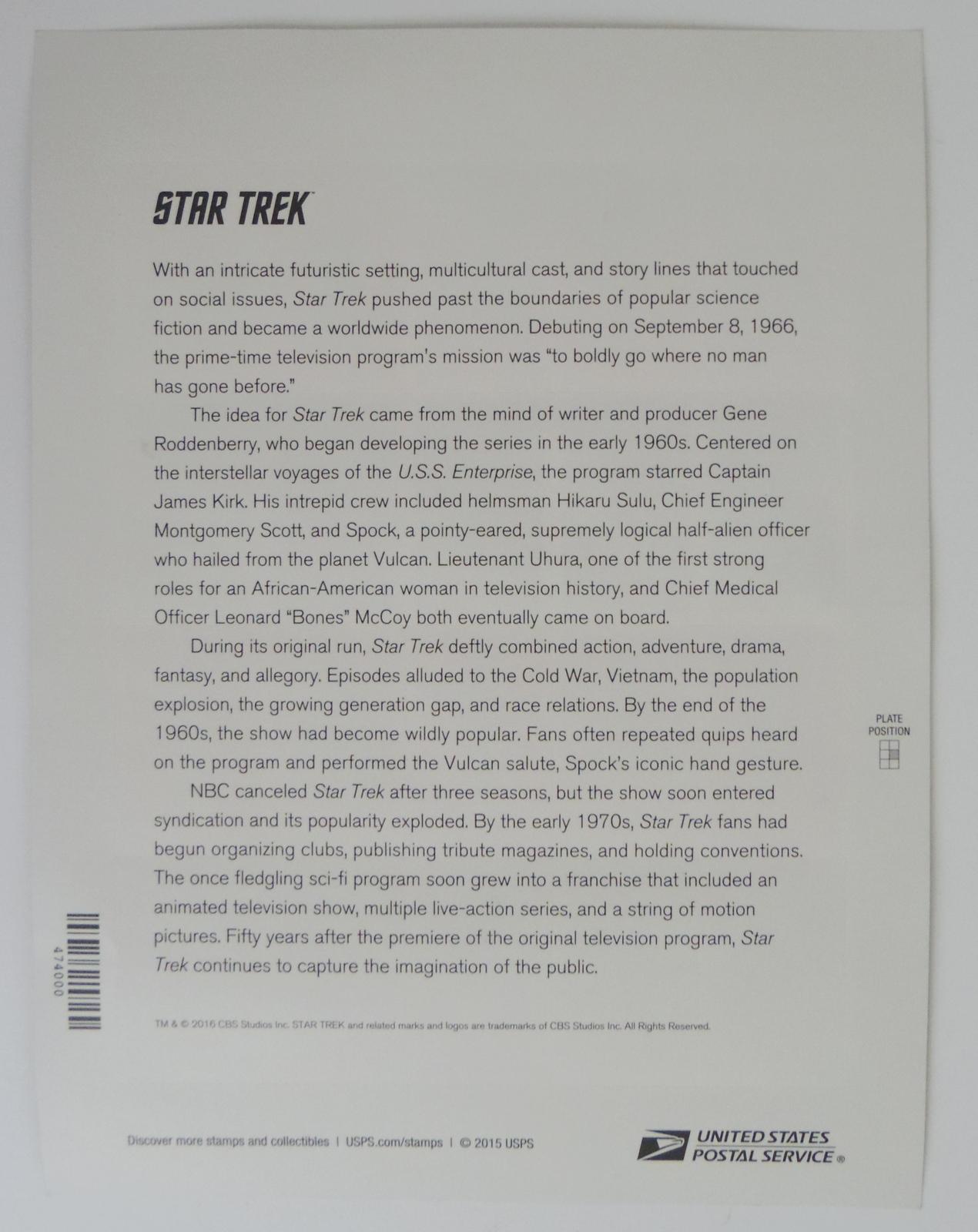 2016 Star Trek USPS Post Office Forever Stamps