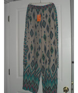 MAGIC COVER UP PALAZZO PANTS SIZE S BEIGE GREEN BLUE PRINT NWT - $19.99
