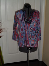 JONES NEW YORK SPORT KNIT SHIRT TOP SIZE PS RED BLUE PAISLEY  MSRP: $54.... - $18.99