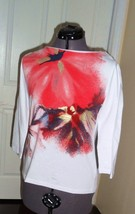 JONES NEW YORK SPORT KNIT SHIRT TOP SIZE PS STRETCH WHITE RED  MSRP: $49... - $19.99