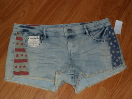 VANILLA STAR I WISH SHORT SHORTS SIZE 7 JUNIOR STARS & STRIPES DISTRESSE... - $19.94