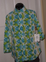 CARIBBEAN JOE BLOUSE TOP SIZE S BLUE GREEN WATERWORLD BUTTON MSRP:$42.00... - $16.99