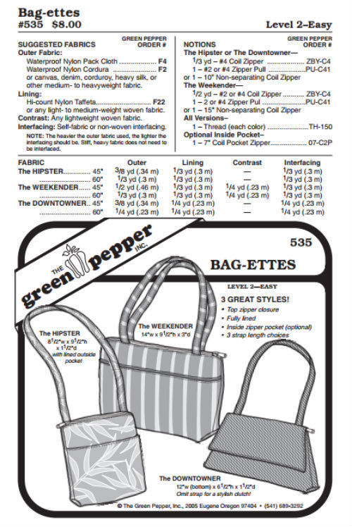 Primary image for Bag-ettes Bags #535 Sewing Pattern (Pattern Only) gp535
