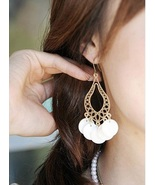 Mother of Pearl Resin Disc Long Dangle Earrings  - $2.75