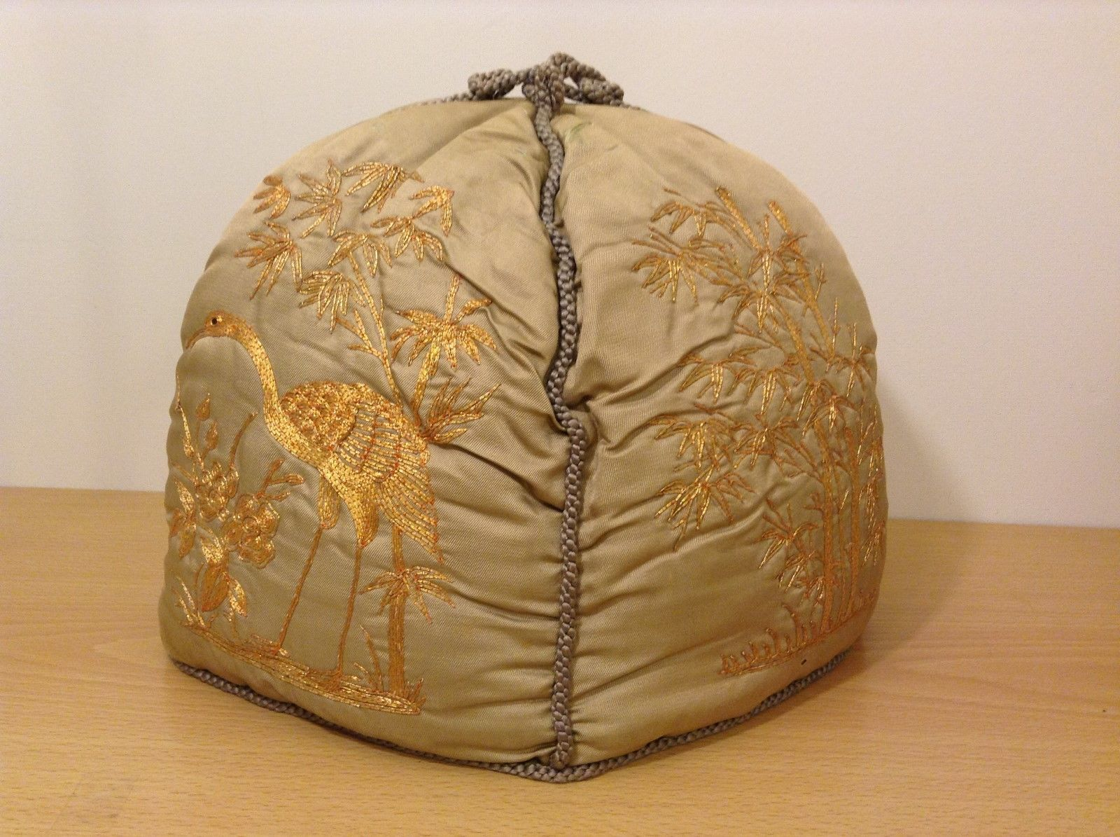 Handmade Vintage Chinese style Collectible Embroidered Tan Teapot Cover