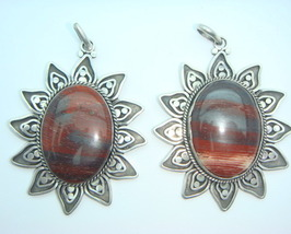 Sterling Silver Red Jasper Ornate Pendant Neckl... - $44.95