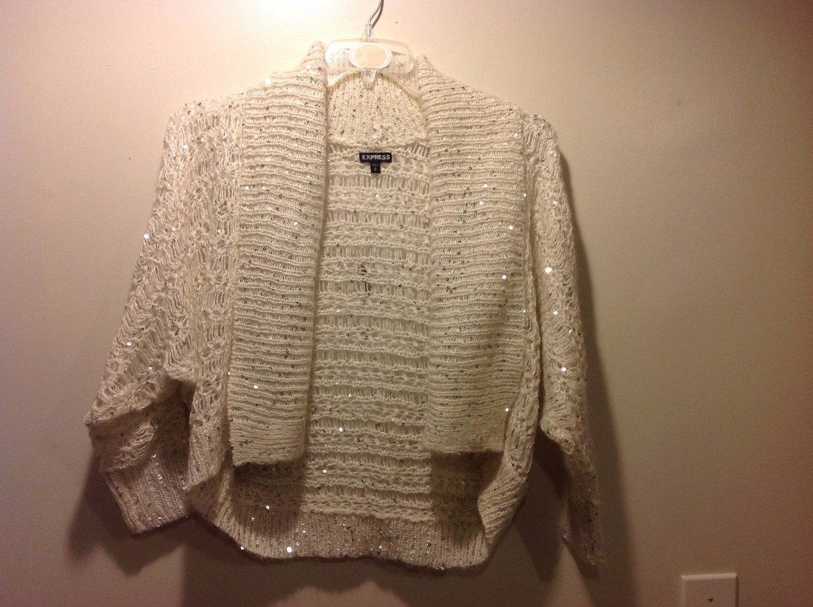 Great Condition Epress Small Shawl Cardigan White Knit Sweater Silver Sequins
