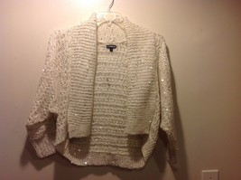 Great Condition Express Small Shawl Cardigan White Knit Sweater Silver Sequins