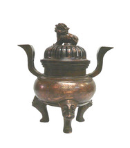Chinese Bronze Foo Dogs Gold Graphic Incense Burner wk2506E - $1,800.00