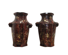 Chinese Pair Brown Lacquer Golden Scenery Vases cs937E - $425.00