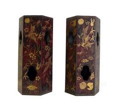 Pair Chinese Matte Gold Scenery Display Brush Pots cs670-3E - $550.00