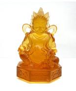 Orange Crystal Glass Liuli Pate-de-verre Zambala, Money God Statue fs449E - $298.00