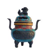 Chinese Bronze Turquoise Cloisonne Tri legs Ding Incense Burner cs646E - $1,800.00
