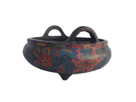 Chinese Bronze Turquoise Cloisonne Tri legs Incense Burner wk2683 - $980.00