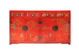 Chinese Red Vinyl Kids Graphic Sideboard Buffet Table Cabinet cs1539E - $2,980.00
