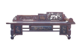 Chinese Vintage Fujian Scenery Carving Daybed Couch Chaise cs1471E - $4,800.00