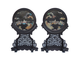 Pair Chinese Handmade Color Stone Inset Round Display Plaque cs1103E - $1,890.00