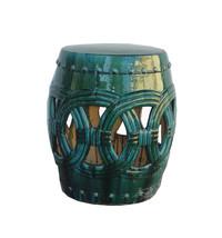 Chinese Handmade Ceramic Clay Green Glaze Round Stool wk2664 - $695.00