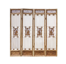 Chinese People Carving Window Pattern Wood Panel Floor Screen cs1523E - $2,980.00