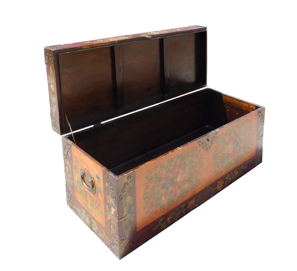 Chinese Tibetan Floral Orange Brown Wood Trunk Bench Ottoman Cs1538e Chests