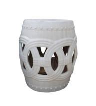 Chinese White Coin Pattern Round Clay Ceramic Garden Stool cs1638E - $625.00