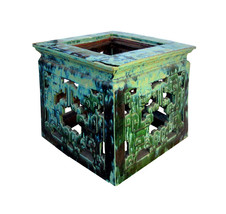 Chinese Turquoise Ru Yi Clay Square Garden Table m101E - $3,200.00