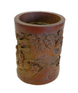 Chinese Bamboo Scenery Carved Brush Pot Holder Display cs695-17E - $2,600.00
