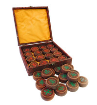 Chinese Rosewood Carved Round Chess Set in Box cs1625E - $890.00