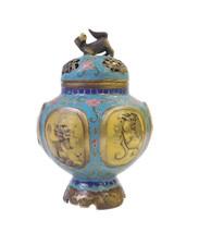 Chinese Vintage Metal Blue Yellow Enamel Cloisonne Incense Burner Figure... - $1,890.00