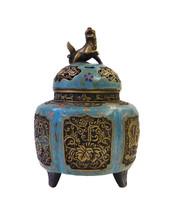 Chinese Vintage Metal Blue Enamel Cloisonne Incense Burner Figure cs1621E - $1,890.00