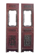 Pair Vintage Chinese Red Window Wood Panels Decor s1005 - $1,450.00