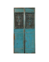 Pair Chinese Antique Tall Blue Flower Carving Screen Panels wk2277E - $3,950.00