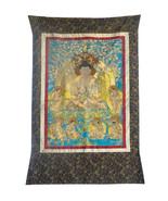 Hand Embroidery Golden Outline Sakyamuni Tree Thangka cs385E - $2,800.00