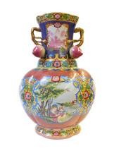 Chinese Pink Multi-Color Dimesional Peach Flower Porcelain Vase cs1483E - $1,680.00
