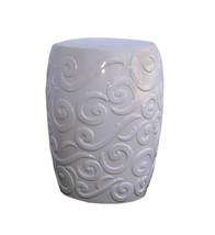 White Porcelain Scroll Pattern Round Stool cs465-3E - $280.00