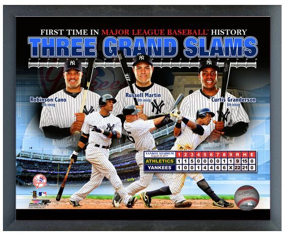 "NY Yankees 3 - Grandslams in 1 Game 11"" x 14"" Photo in a Glassless Sports Frame"
