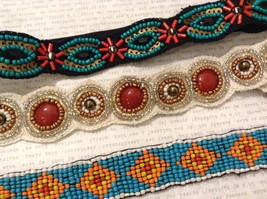 Turquoise Ruby Red Multi-Colored Beaded Elastic Headbands image 2
