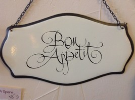 Enameled Sign in script Bon Appetit  on chain ready to hang made to look vintage image 2