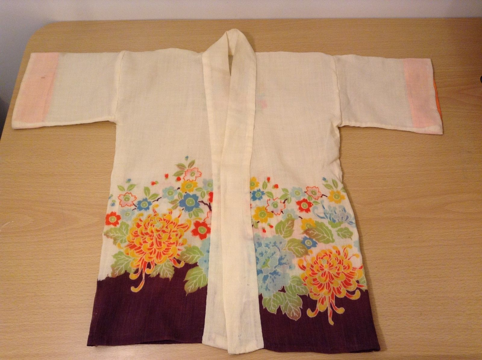 Antique Handmade Baby Japanese Kimono with Floral design 100% Cotton
