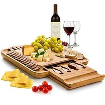 Cheese Board Bamboo Set Cutlery Slide Drawer Serving Cutting Wood Tray N... - $87.13