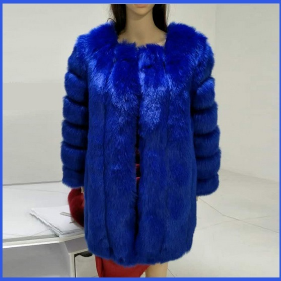 Long Full Pelt Sapphire Blue Fox Faux Fur O Neck with Long Sleeves Luxury Coat
