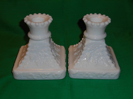 Pair of Rectangular White Milk Glass Candle Holders, from Westmoreland Glass - $7.99