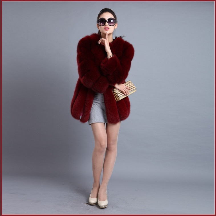 Long Full Pelt Burgundy Fox Faux Fur O Neck with Long Sleeves Luxury Fur Coat