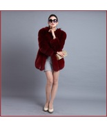 Long Full Pelt Burgundy Fox Faux Fur O Neck with Long Sleeves Luxury Fur... - $334.95